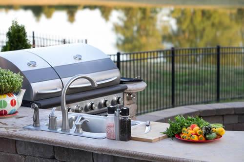 preparing meals in an outdoor kitchen